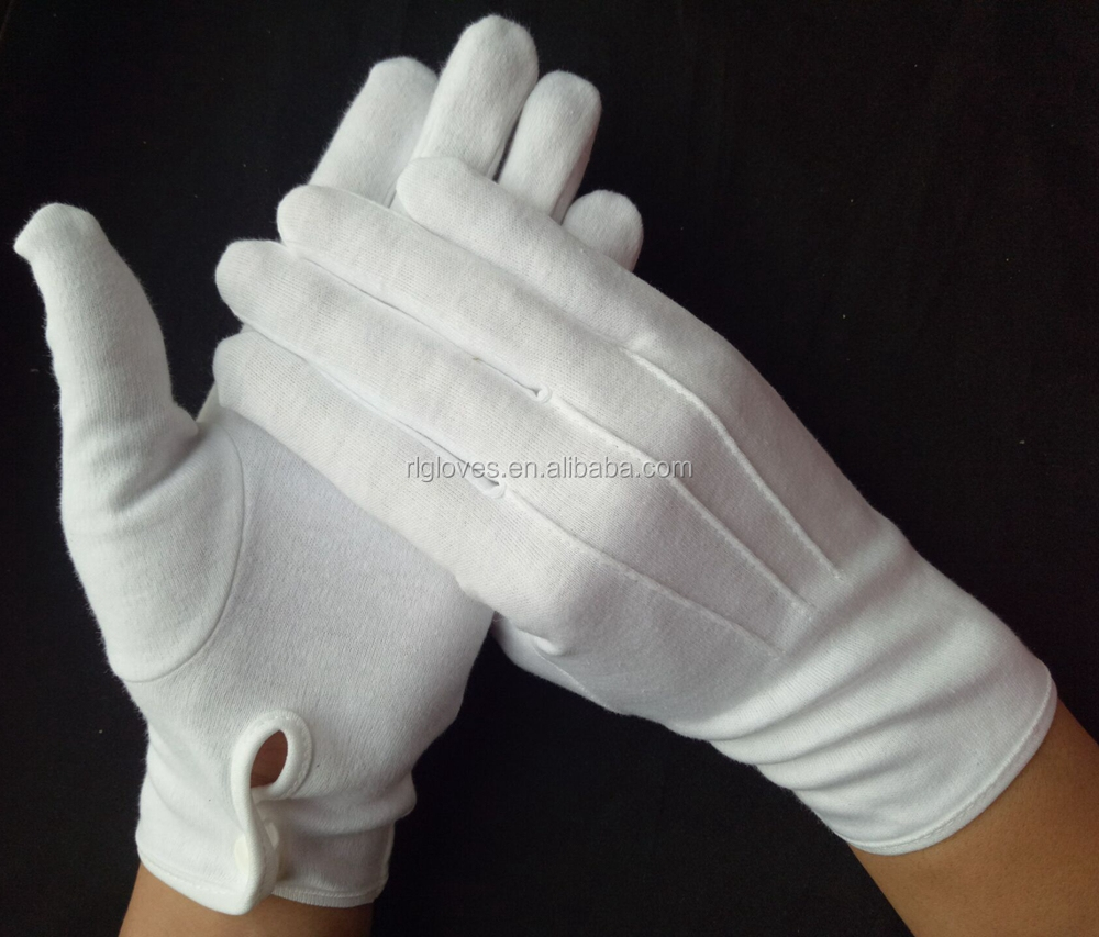 Cotton white parade glove with button snap