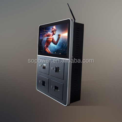 21 inch advertising screen phone charging station outdoor wall mounted tablet charging digital signage display