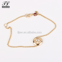 Gold silver optional round shape 3 diamond dubai gold jewelry bracelet with charm