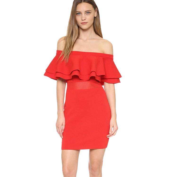 OEM Endless Off Shoulder Double Layered Ruffle Salmon Knit Dress