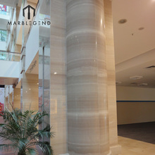 custom well quality serpeggianto wooden beige marble column pillar design