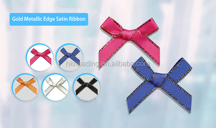 Stitich Making Golden edge Decorative Gift Christmas Bow Knot Satin Ribbon