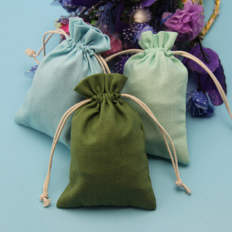 Nature coloured embroidered jute burlap drawstring gift bag