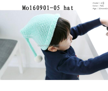 New product blue color baby hat with hair / long baby hat
