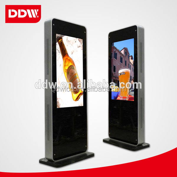Alibaba Hot Sale 46 Inch Metal Case + Tempered Glass Panel Large Lcd Screen Floor Kiosk Stand Digital Signage DDW-AD4601SN