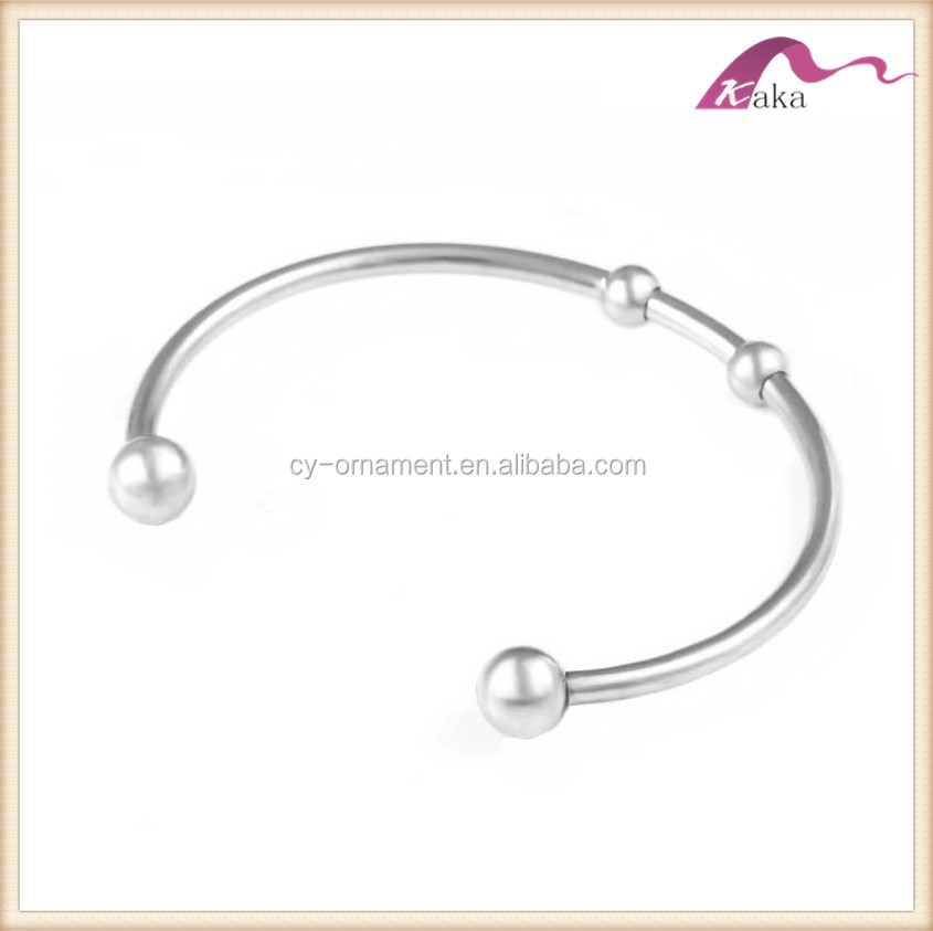 Women matt silver alex open cuff bangle with charm,fashion stainless steel jewerly wrist bracelet