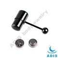 Vibrating body jewelry IP black plated stainless steel tongue rings wholesale