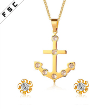 High Quality Personalized 18k Gold Plated Anchor Pendant Zircon Stainless Steel Flower Necklace Earring Jewelry Set