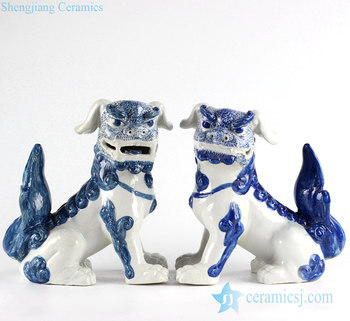 RYXZ10 Pair of Chinese mythology ceramic dog statues in cobalt blue color