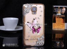 Luxury bling crystal butterfly hard case cover for Samsung galaxy s4 s5 note3 note4
