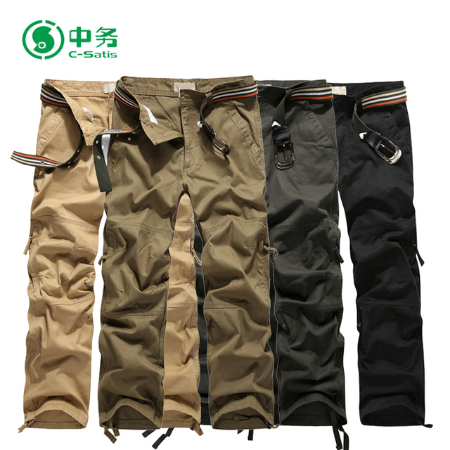Top Quality Multi Color Many Pocket 100 Cotton Twill Baggy Cargo Pants for Men