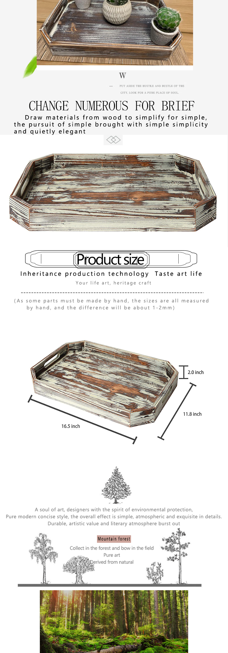 Wholesale Distressed style wood serving brakfast tray with angled edges