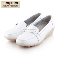 Cheap price white genuine leather lady work shoes loafer shoes