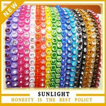 clear stones plastic rhinestone banding trimming in colorful backing