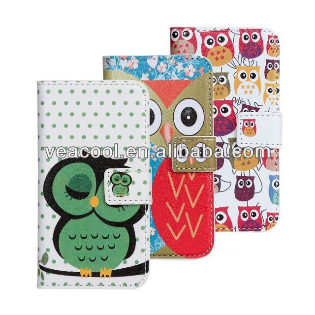 Cartoon Stand Book Wallet Phone Leather Case for Samsung Galaxy s4 mini i9190 Case