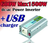 600w max 1500w car power inverter USB charger