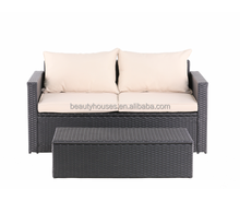 Promotion mail order wicker two seat sofa garden rattan sofa