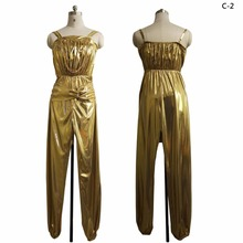2017 New Shiny Gold color Groovy outlook Double Jersey sleeveless one piece Jumpsuit 70s disco dancing girl costume