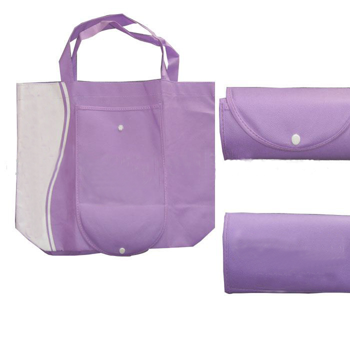 Foldable reusable with zipper shopping bag