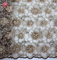 2017 New Arrival High End brown 3d bridal Lace Fabric Heavy Beaded Lace Fabric with 3D flower/Fashion designs Evening Party Lace