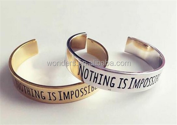 hot new products for 2016 stainless steel bracelet jewelry silver gold plated engraved inspiration bangle bff birthday gift