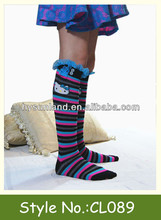 kids knee high socks with lace and buttons