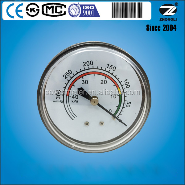 65mm diameter back type low vacuum pressure gauges 0-300 water column for air compressor