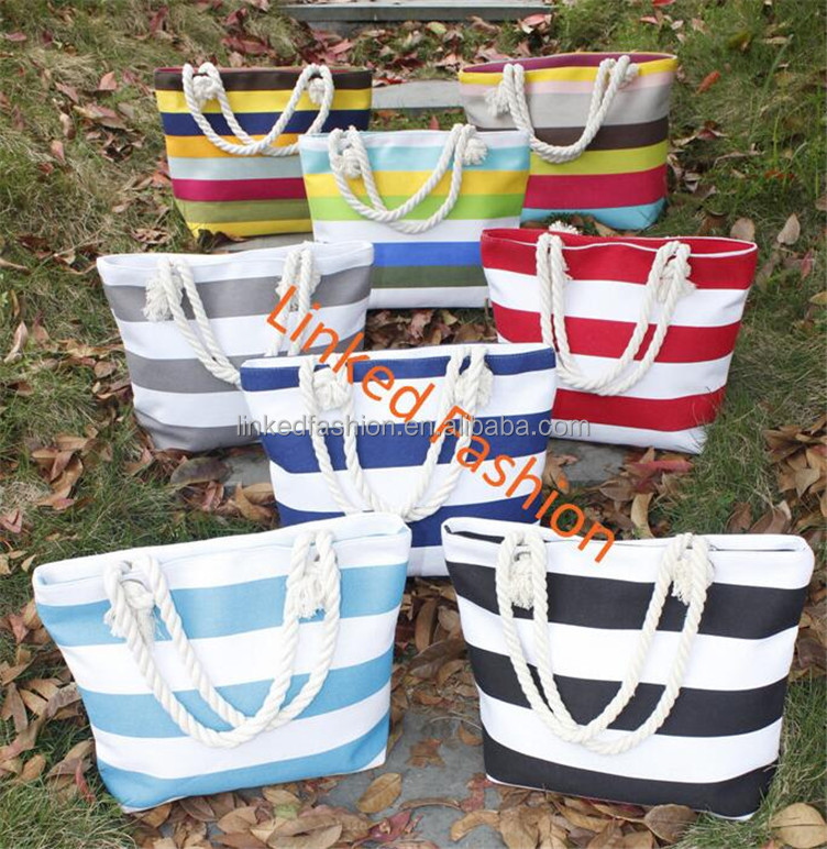 wholesale chevron tote stripe canvas beach bag