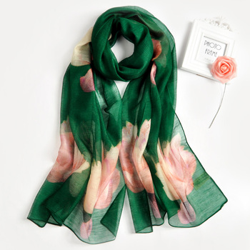 Elegant funky lmited silk scarf printed machine hemming colorful silk wool infinity scarf