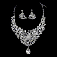 New 2016 Rhinestone Peacock bridal Jewelry silver necklace wedding jewelry set