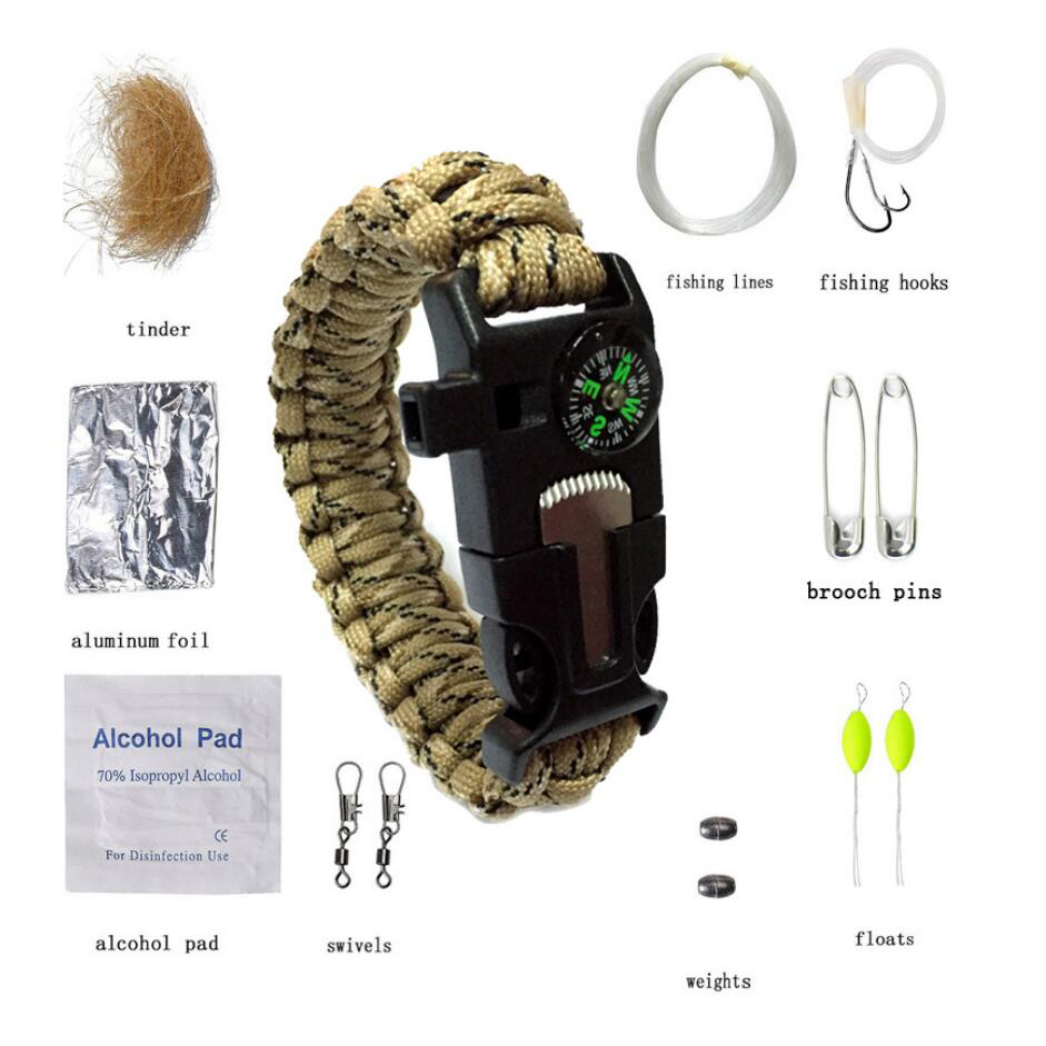 Promotional outdoor military adventure cample survival mil SPEC fiber patch cord magnesium stick 350 paracord climbing rope tool