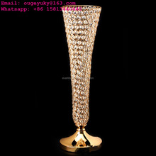 Golden metal flower vase wedding decorative vases stand for sale