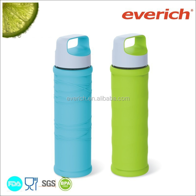Everich 550ml borosilicate glass sport water bottle with silicone sleeve