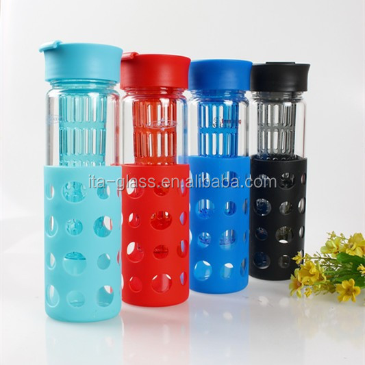 food grade fruit infuser water bottle packing travel school juice making sport bottle with plastic cap