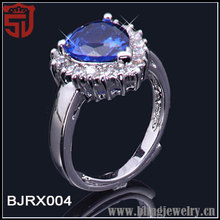 Simulated Sapphire Gold Over Sliver CZ Ring Shangjie Jewelry