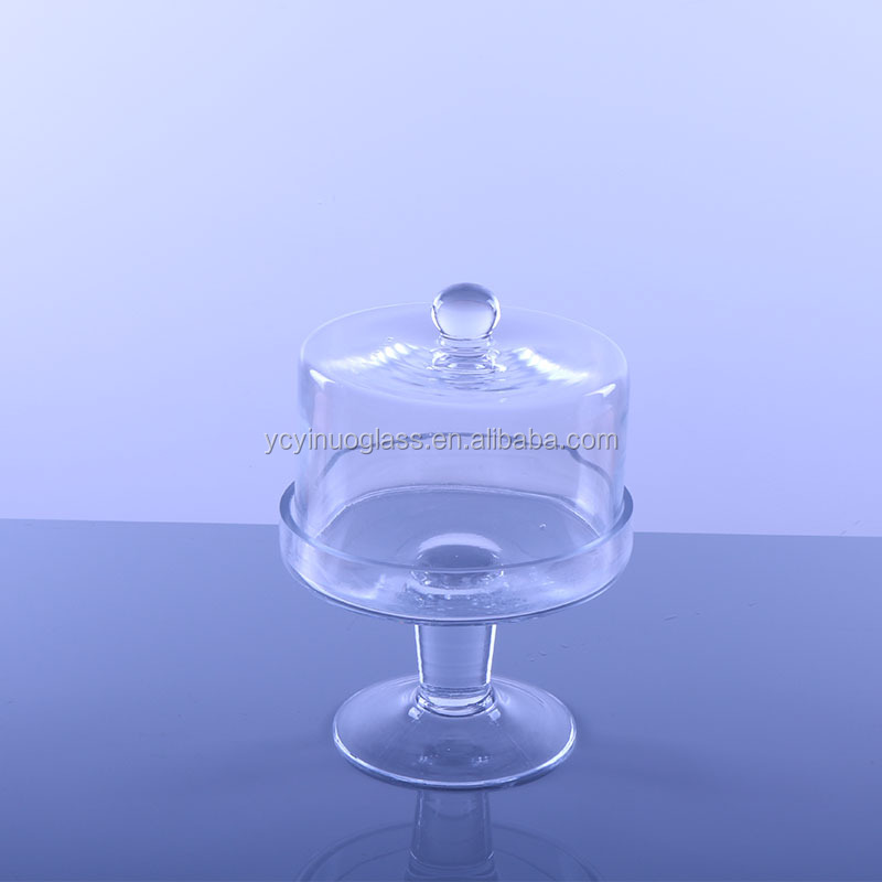 Ceramic mini cake stand with glass dome/Glass cake dome cover