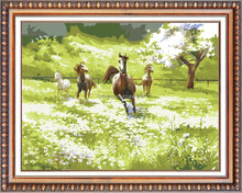 horses running mosaic diamond painting with frame