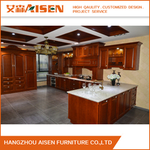2017 China Supplier Hot Selling wood Finish solid kitchen Cabinets For Kitchen Furniture