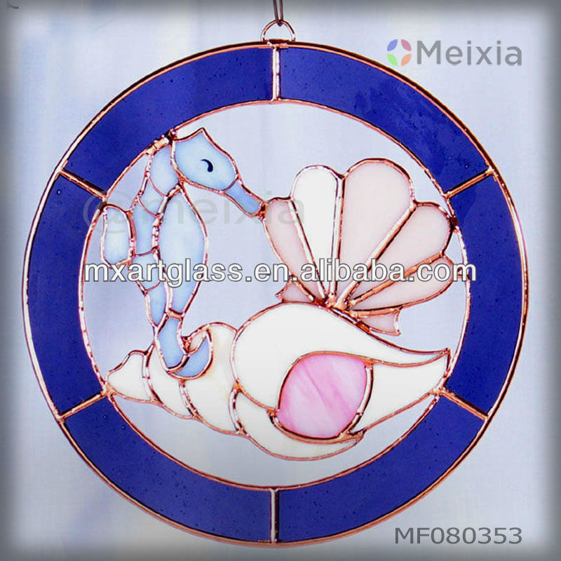 MF080351 china wholesale stained glass ocean items craft wall hanging window suncatchers for home decoration