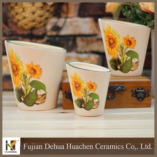 sun flower design ceramic garden flower pot