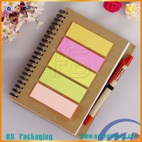 Recycle Cheap A4 Size Spiral Diary Kraft Paper Notebooks with pen