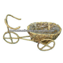 Outdoor bike shape large flower planter handmade by water hyacinth with wheel