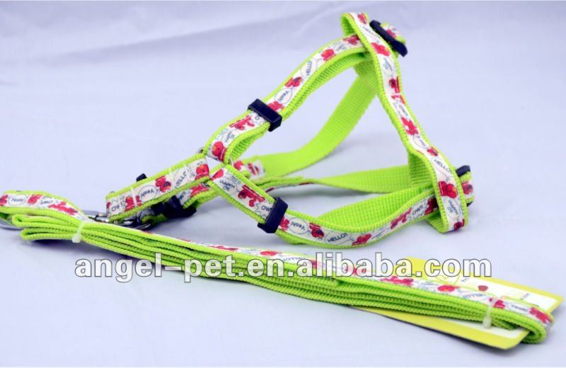 Stylish Fluorescence Light Green Dog/Pet Harness and Leash with Ribbon