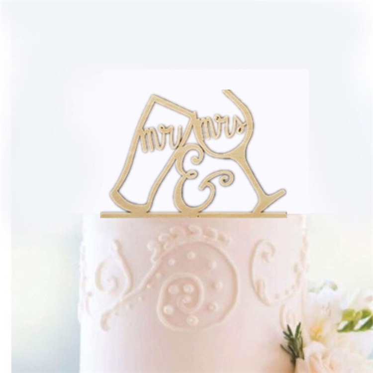 Elegant personalized mr and mrs wood wedding cake topper for wedding favor