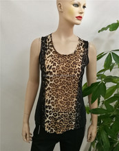 2017 wholesale fashion chiffon indian blouse designs sleeveless leopard patchwork woman blouse