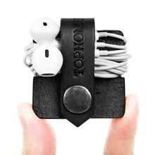 Cord Organizer Headset Headphone retractable earphone winder/ Cord Manager/ Cable Winder with Genuine Leather Handmade