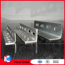 hot dip galvanized V shaped equal types of stainless mild steel slotted angle steel iron bar prices with standard sizes&weights