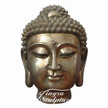 Temple Decoration polyresin bronze color budda head statue