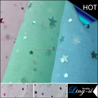 Nylon Organza Spangle Fabric Star Design for Dress