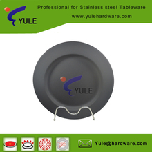 black rubber cheap bulk stainless steel dinner plates rattan for restaurant